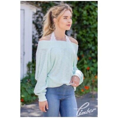 6f6d982a90a Free People • palisades off the shoulder sweater size medium womens mint  green M