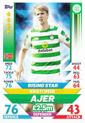 TOPPS MATCH ATTAX SPFL 2018-19 - Kristoffer Ajer - Celtic - # 26 - RISING STAR