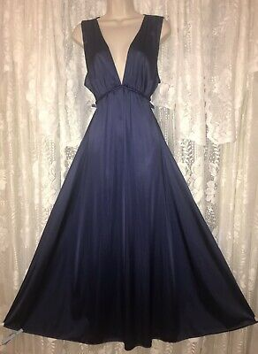 c209710ca80 Vtg Rare VANITY FAIR Navy GRECIAN Nightgown Negligee Gown Braided Trim 42 44
