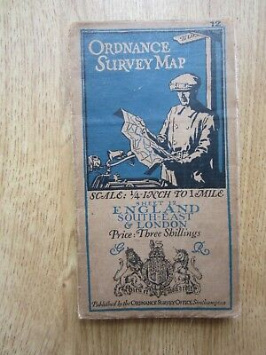 Vintage cloth Ordnance survey map of South East and London quarter inch  1 mile
