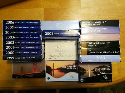 1999 - 2018 U.S. Mint Proof Sets with COA & OGP SOME SILVER.20 IN ALL.
