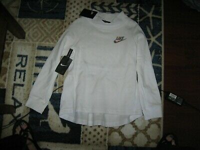 NIKE Girls NSW Long Sleeve,Long Length,Crew Neck Fleece, White,All Sizes,MSRP$40