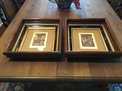 Antique Pair (2) Eastlake Victorian Deep Well Wooden Frames Original Glass