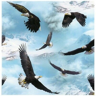 Eagle Bird Scenic Mountain Forest Cotton Fabric Timeless Treasures C7103 By Yard