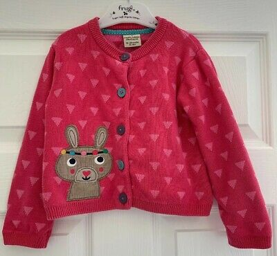 Frugi Organic Girls Cotton Pink Cardigan With Rabbit On Front Age 18-24 Months
