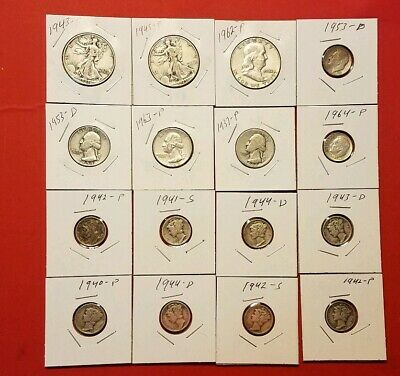 US Silver coins $3.25 face value Liberty Franklin half dollars+ more I
