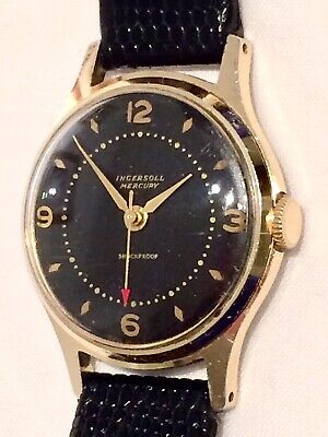 RARE Boxed Ingersoll Mercury Gold Plated Mens Watch ft. Red Pointer & Black Dial