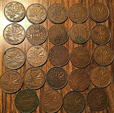 Canada Small Cents Lot Of 24 Small Pennies Mostly Geo V Geo Vi