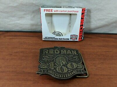 Vintage Red Man Chewing Tobacco 100th Anniversary Belt Buckle Brass Indian Chief