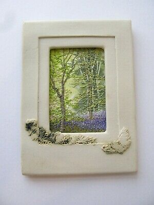Beautiful Machine Embroidered Woodland Picture in Ceramic Frame by Pamela Dyer