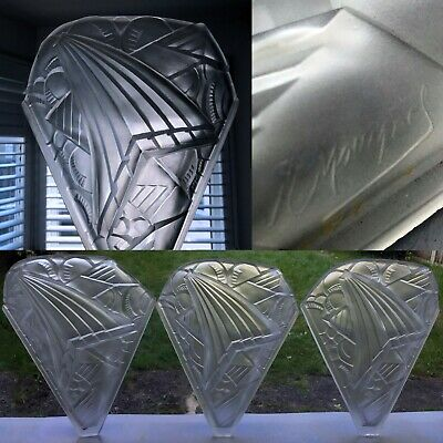 3 x H. MOUYNET WALL LIGHTS SCONCES (Signed) French Art Deco Glass Lalique period