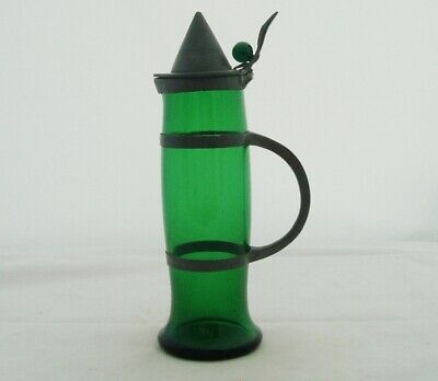 Rare Osiris Pewter Germany Jugendstil Peter Behrens Green Glass Lidded Carafe