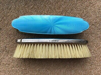 Vintage Pair Of Solid Silver Art Deco Guilloche Enamel Blue Clothes Brushes