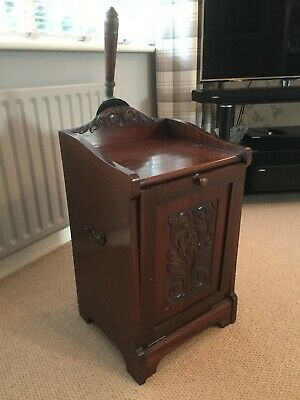 Coal Scuttle Cabinet Antique Mahogany including Original Shovel