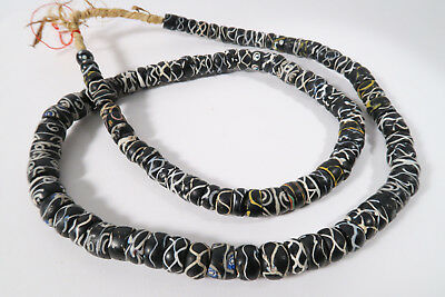 Alte Glasperlen Rattle Snake beads 82cm Rare Old Venetian Trade beads Afrozip