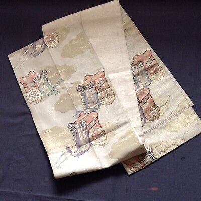 "Vintage Japanese Obi Sash Belt ""Rickshaw Design"" Silk Brocade Fabric"