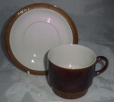 Poole Pottery Chestnut Pattern Breakfast Cup & Saucer made in the Compact Shape