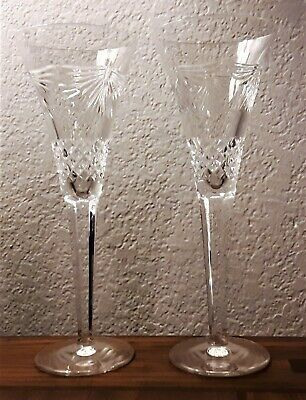 Pair of WATERFORD Lismore Champagne Toasting Crystal Glass Flutes Ex. Cond. !!