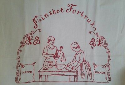 Vintage Tablecloth Hand Stitched Red White Tea Coffee Towel Embroidered Hanging