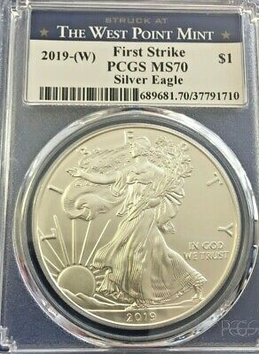 2019-(W) American Silver Eagle - PCGS MS70 - First Strike West Point Label!