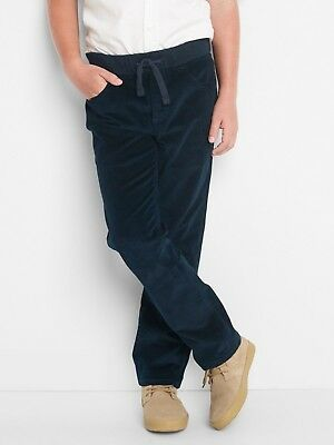 Gap Boys Stretch Pull-On Rib Waist Straight Navy Corduroy Trousers XL12-13 BNWOT