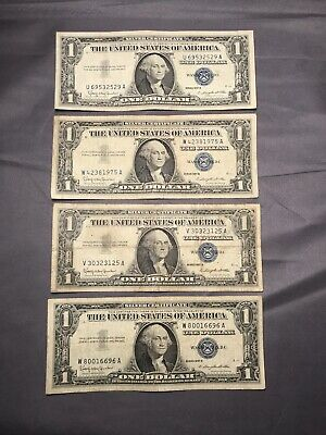 Lot of 4 1957 B $1 One Dollar Silver Certificates Blue Seal