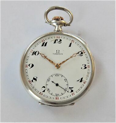 1920.s Siver Cased Omega 15 Jewelled Swiss Lever Pocket Watch In Working Order