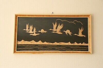 Vintage Retro Inlay Straw Picture with Goose theme 53 x 28cm