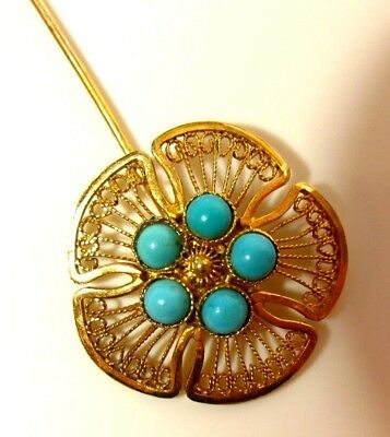 RARE Antique 1800s Gold Chinese Silver Turquoise Flower Cravat Stick Pin Hatpin