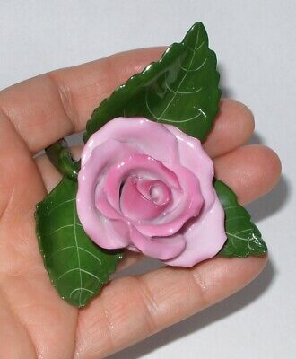 HEREND Hungary Hand-Painted Porcelain Rose Flower Figurine SIGNED NUMBERED