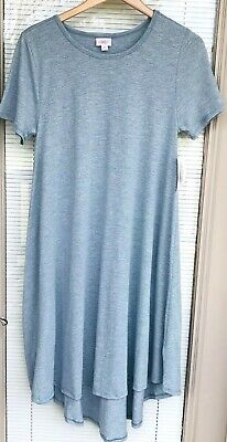94fa127245a9a Lularoe LLR Carly Hi Lo Shift Dress Size Medium Pullover Blue Marled S/S New
