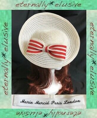 MARIE MERCIE Cream & Red Special Occasion Disc Hatinator Hat Ascot Races Wedding