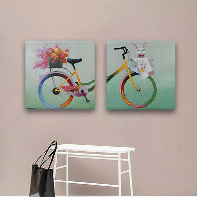 Framed Modern Oil Painting Wall Art Decor Hand Paint Canvas Set Painting Bicycle