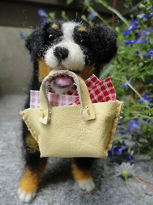 OOAK Handmade Needle felted Wool Bernese Mountain Dog with leather shopping bag