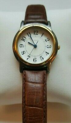 Women's Guess Quartz White Dial Silver Gold Tone Case Brown Leather Band Watch