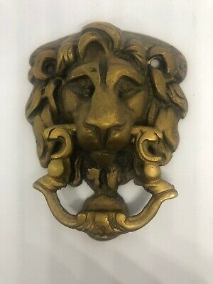 OLD Antique Sand Cast Brass Lion Head Door Knocker 1700s? Attached Strike Plate