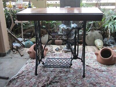 Antique Singer sewing machie frame with english oak top