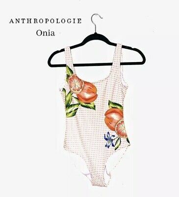 $195 Anthropologie Onia Kelly One Piece Orange Coral Gingham Swimsuit Large New