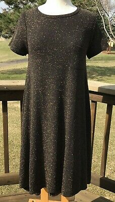 06a2000ae5e5a Lularoe LLR Carly Hi Lo Shift Dress Size XS Pullover Black Gold Metallic S/S