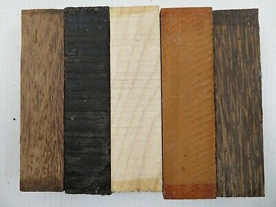 "(5) LOT 5 SPECIES,  POOL CUE BLANK TURNING WOOD KNIFE SCALES 1.5""x 6"" FREE SHIP"