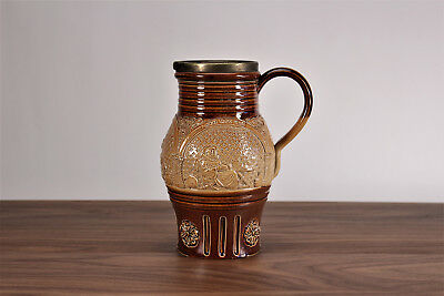 Royal Doulton Lambeth Silicon Pitcher Merry Monk Friar Pattern Medieval Style