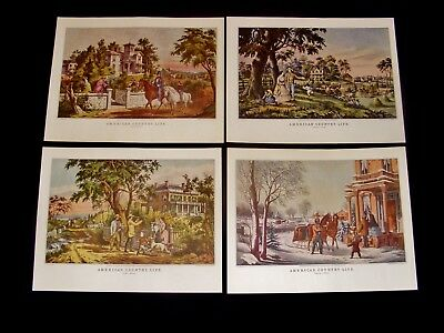 "1972 Vintage Currier /& Ives /""AM COUNTRY LIFE OCTOBER/"" Color Print Lithograph"