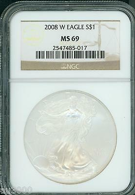 2008-W BURNISHED American Silver Eagle ASE S$1 NGC MS69 BEAUTIFUL !