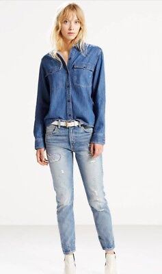 5ebd9b53 WOMEN'S NWT $158 Levi's 505 C Cropped Distressed Jeans 27 - $24.95 ...