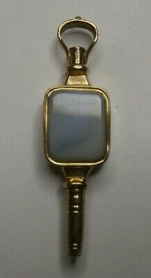 RARE Antique 9k Gold & Stone Pocket Watch Key - Verge / Lever Fusee, Key Wind