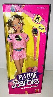 MATTEL VINTAGE Barbie Funtime Watch1738 Blonde 1986 Pink Glitter Outfit Fashion