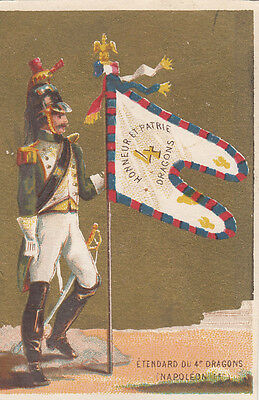 Etendard 4 Eme Dragons Napoléon Empire  Drapeau Flag Image Chromo Old Card