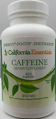 CAFFEINE 200mg + 75mg CALCIUM FOR ENERGY-ENDURANCE-FOCUS-CALIFORNIA ESSENTIALS