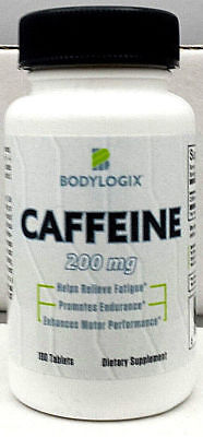 CAFFEINE ENERGY TABLETS-200mg-100 TABS PER BOTTLE-BODYLOGIX BRAND-FREE SHIPPING