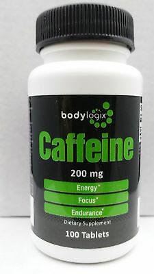 CAFFEINE Tablets*200mg*100 TABS*Bodylogix Brand*Energy all day*FREE SHIPPING